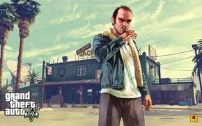 Picture palm trees, the building, bar, art, plate, gta, Grand Theft Auto V, Rockstar Games, Trevor