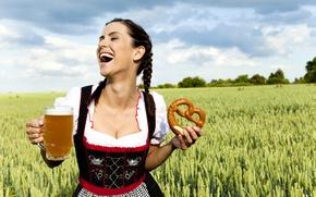 Wallpaper dress, ears, joy, clouds, braids, field, girl, brew, Kalach, brunette, hairstyle, mug