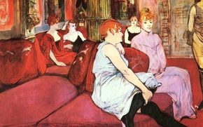 Picture sofa, interior, picture, salon, genre, Henri de Toulouse-Lautrec, The Salon in the Rue des Moulins