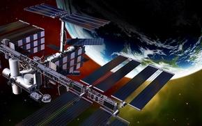 Wallpaper graphics, station, Earth, orbit, ISS, render