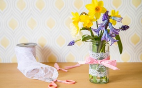 Wallpaper hyacinth, lace, Bank, Muscari, a bunch, coil, daffodils