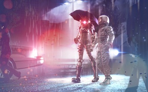 Picture machine, astronaut, umbrella, The city, cyborg, passers-by