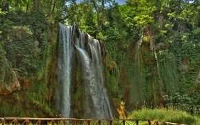 Picture trees, rock, Park, open, waterfall, stream, Spain, Spain, Stone monastery Natural Park