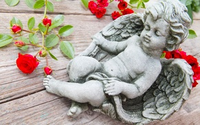 Picture branches, table, roses, angel, figure, Cupid