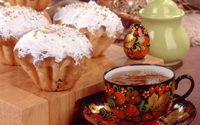 Picture holiday, tea, egg, Easter, Khokhloma, cake, Easter, topping