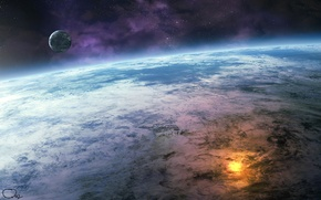 Picture explosion, fire, moon, water, clouds, stars, planet, close up, oceans, Sci Fi, small planet