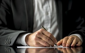 Picture future, business, contract, signing