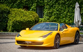 Picture Ferrari, 458, Yellow, Castle, Spider, Cabriolet, Supercar, Paul Rodrigues