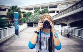 Picture girl, the camera, tattoo, photographs