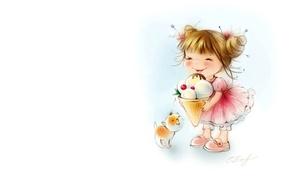 Picture mood, art, ice cream, girl, dog, Catherine Attendants, children's. summer