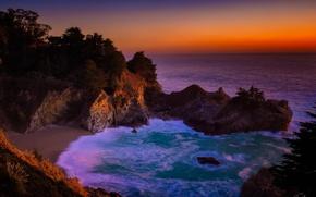 Picture rocks, coast, waterfall, CA, landscape, seascape, California, The Pacific ocean, Big Sur, McWay Falls, Big …