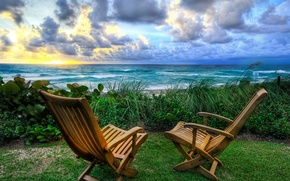 Wallpaper sea, chairs, sunrise, nature