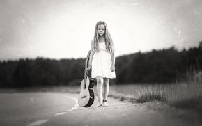 Picture guitar, girl, Road