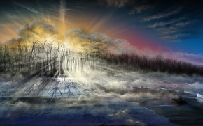 Wallpaper boat, rays, cold, art, ice, trees, sea, people, the sky, landscape