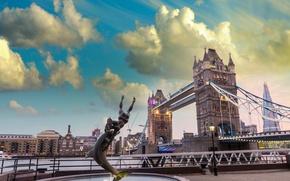 Picture bridge, the city, photo, London, UK, fountain