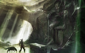 Wallpaper warrior, cave, skyrim, Skyrim, tomb, The Elder Scrolls