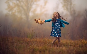 Picture autumn, toy, girl