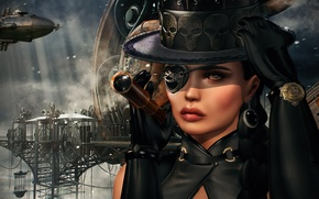 Wallpaper look, girl, face, background, steampunk