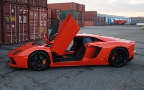 Picture orange, lamborghini, side view, containers, orange, aventador, lp700-4, Lamborghini, aventador, guillotine, doors