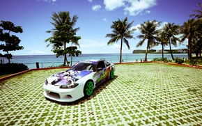 Picture sea, the sun, palm trees, tuning, white, S15, Silvia, Nissan, white, Nissan, tuning, Sylvia
