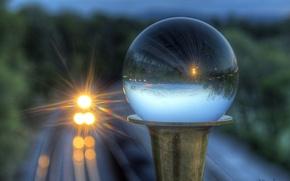 Picture nature, train, glass globe