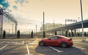 Picture road, Parking, Toyota, drives, side, GT86, Rocket, Bunny