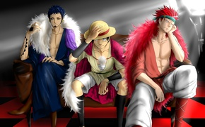 Picture game, One Piece, red hair, pirate, hat, anime, man, boy, tatoo, captain, asian, Kid, manga, …
