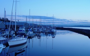 Picture The evening, Pier, Yachts