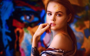 Wallpaper look, girl, face, sweetheart, model, paint, hand, portrait, lips, artist, beautiful, shoulder, tattoo, Rus, grimy, ...