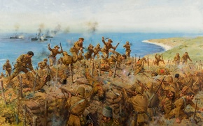 "Picture oil, picture, canvas, the artist Terence Cuneo, WW1, ""The Battle for Sari Bair"""