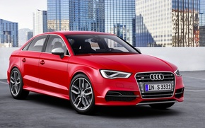 Picture Audi, Auto, Audi, The city, Logo, Case, Building, Lights, Sedan, The front