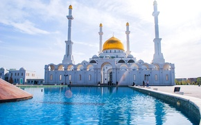 Picture people, fountain, mosque, Kazakhstan, the minaret, Astana