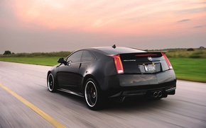 Picture Cadillac, Auto, Road, Black, Cadillac, CTS-V, Hennessey, In Motion