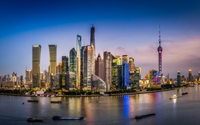 Picture the sky, clouds, boats, China, Shanghai, twilight, Oriental Pearl Tower, Shanghai Tower, Jin Mao Tower, …