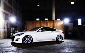 Picture white, wheels, side, Hyundai, vossen, Genesis, 3.8