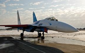 Picture the plane, fighter, Su-27, Russian knights