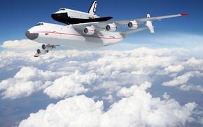 Wallpaper clouds, flight, the plane, Buran
