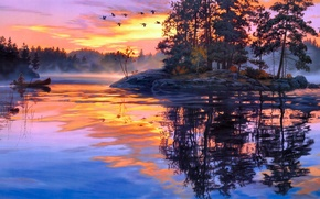 Picture forest, fog, lake, river, dawn, boat, island, duck, morning, painting, Darrell Bush, Lure of the …