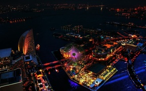 Picture night, lights, wheel, Japan, Japan, Yokohama