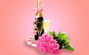 Wallpaper flowers, Valentine's Day, roses, romantic, champagne, roses, glasses, glass, champagne