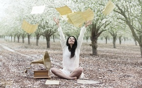 Picture girl, notes, petals, garden, gramophone