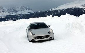Picture winter, road, the sky, snow, mountains, supercar, Ferrari, Ferrari FF