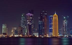 Picture night, the city, lights, The Persian Gulf, Doha, Qatar