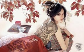 Picture dragon, figure, brunette, tattoo, JX Online