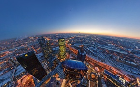 Wallpaper lights, the evening, The moon, horizon, Moscow, City