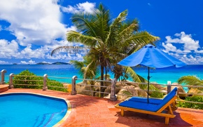 Picture sea, nature, palm trees, the ocean, relax, view, pool, exotic