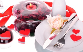 Picture romance, rose, hearts, love, heart, romantic, Valentine's Day, serving