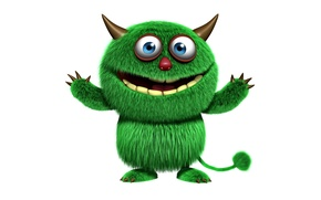 Picture monster, face, funny, cute, fluffy