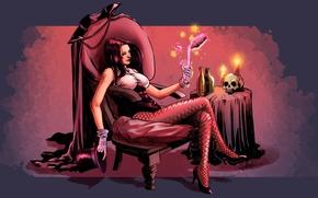 Picture magic, magic, skull, candles, sorceress, Zatanna, Zatanna, Zatara