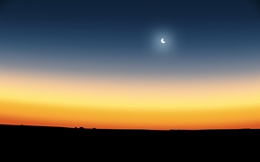 Picture the moon, dawn, the sky, a month, sunset